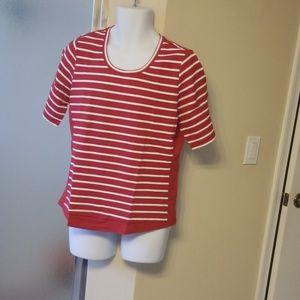 Denim &Company  Active Striped Scoop Shirt